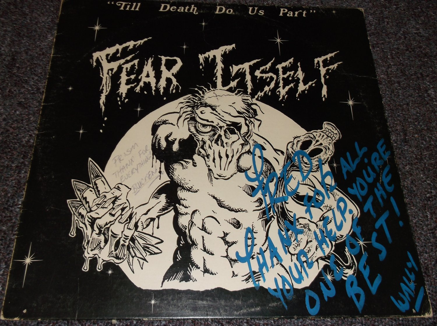 Fear Itself signed inscribed LP cover
