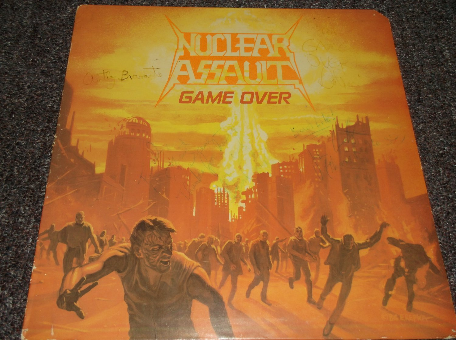 Nuclear Assault signed inscribed LP cover 1986
