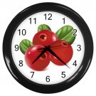 Life Like Red Berries Black Frame Kitchen Wall Clock
