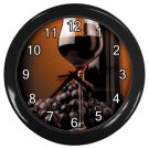 Black Grapes Wine Glass Black Frame Kitchen Wall Clock