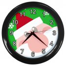 Santa Head Green Black Frame Novelty Christmas Wall Clock