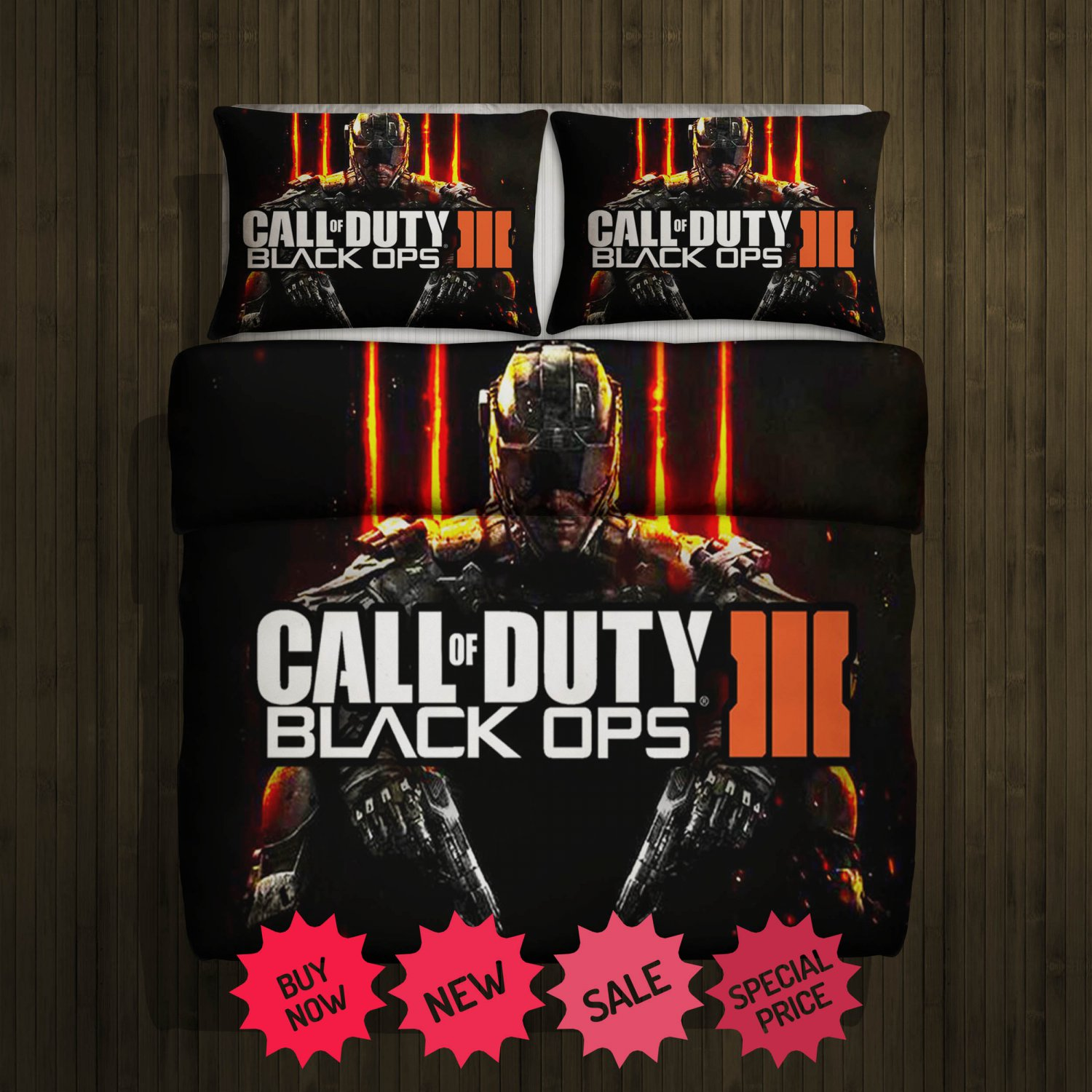 Call Of Duty Black Ops Blanket Large & 2 Pillow Cases
