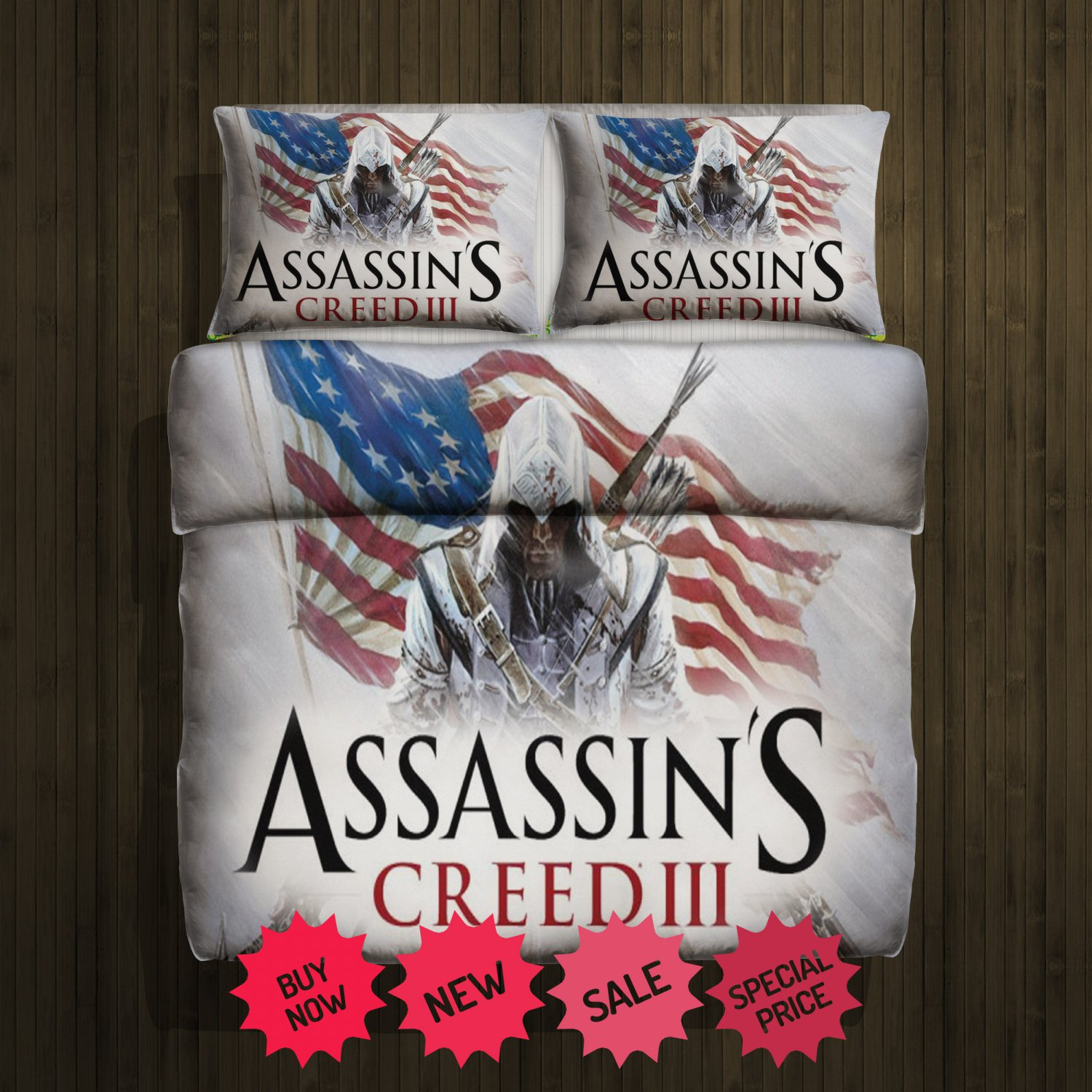 Assassins Creed 3 Blanket Large & 2 Pillow Cases #97363916,97363918(2)