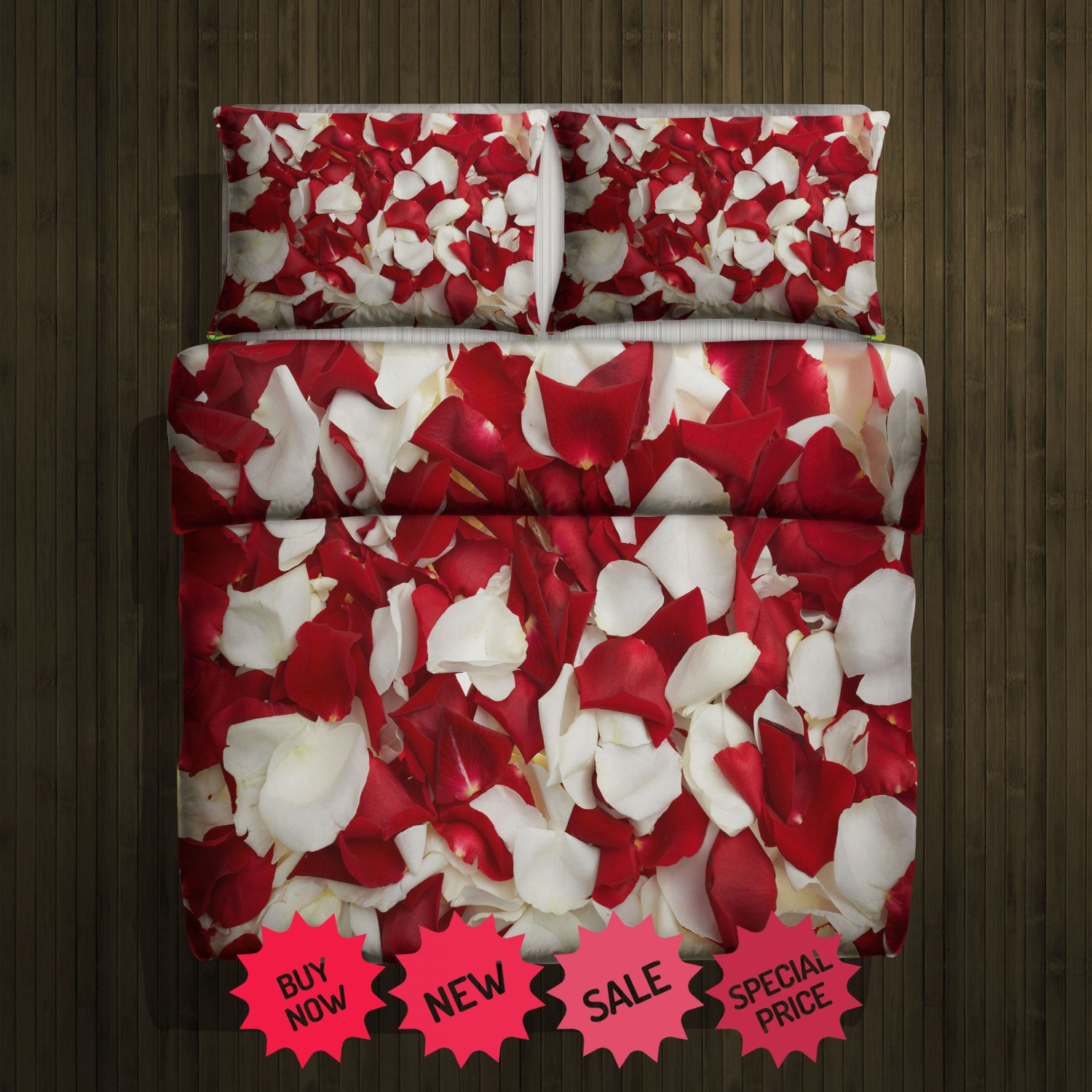 Rose white & Red Blanket Large & 2 Pillow Cases #98637182 ,98637780(2)