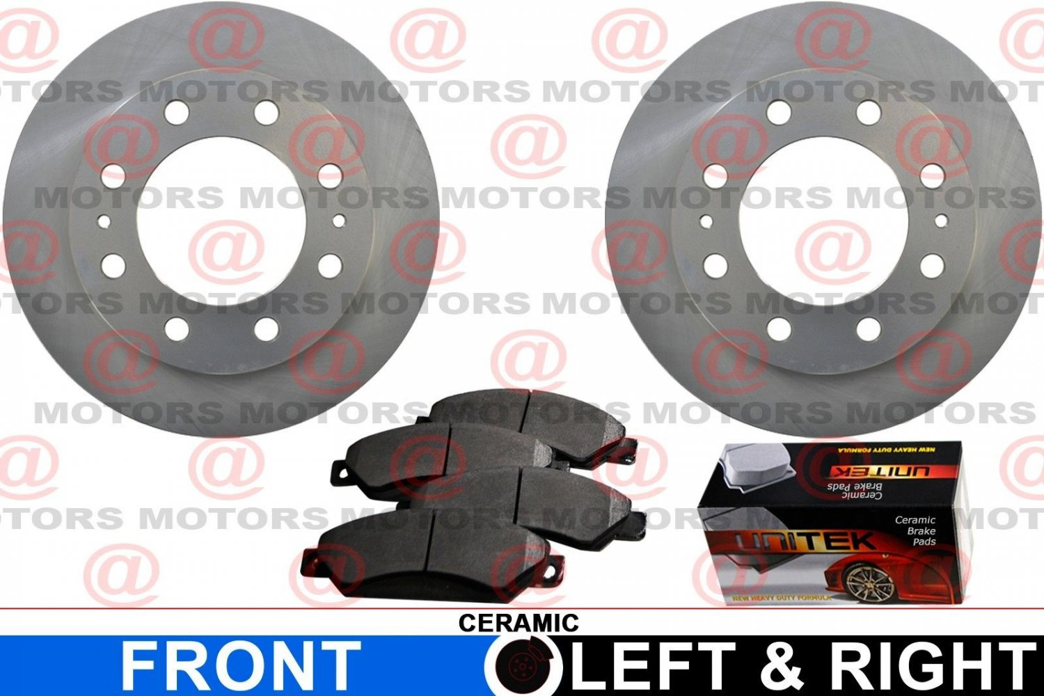 For GMC Sierra 2500 HD 01-10 Front Set Of Brake Rotors And Ceramic Brake Pads