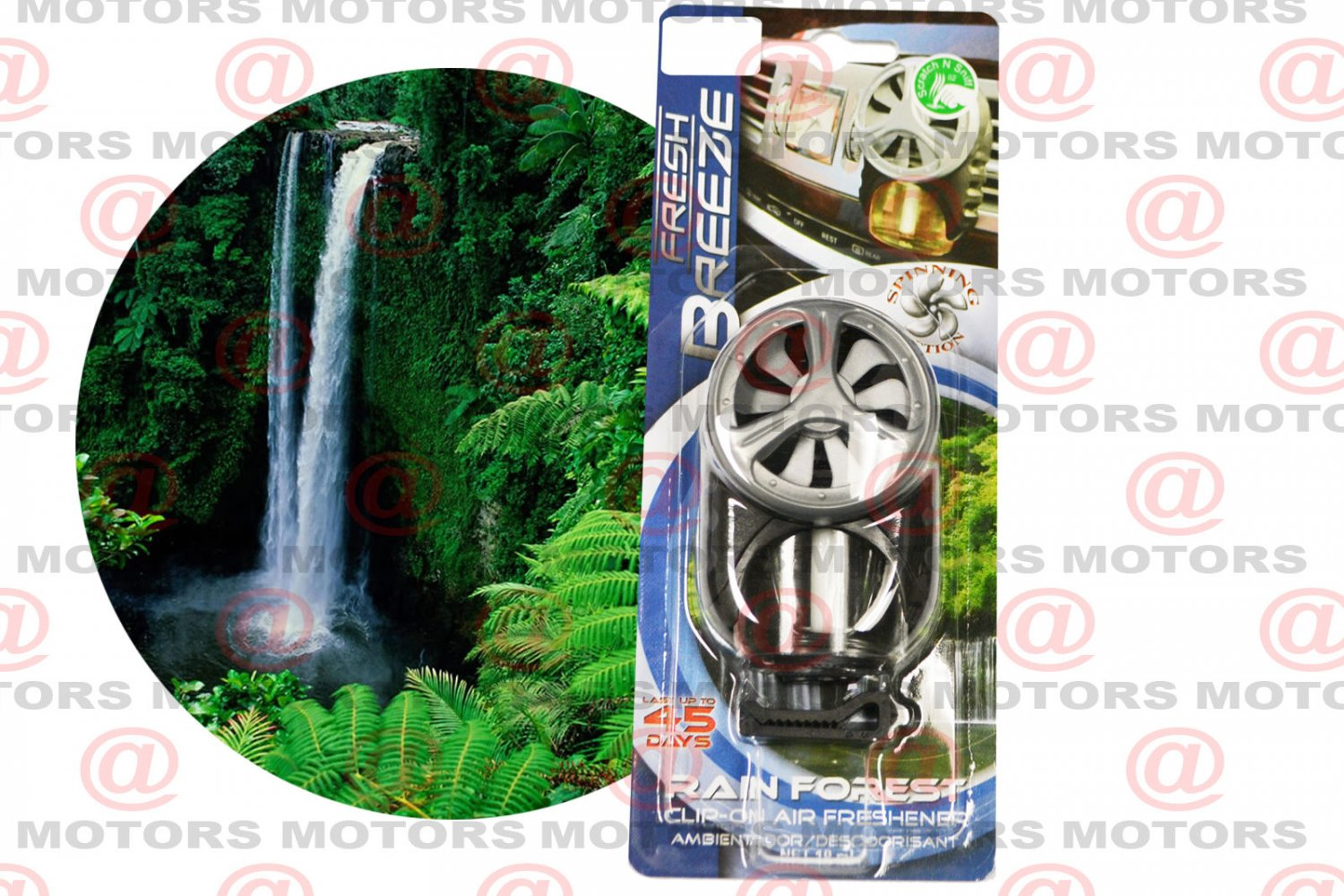 Car Air Freshener Rain Forest 10ml Clip-on Last Up To 45 Days Spinning Action