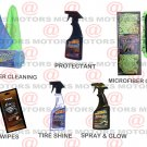 Microfiber Cleaning Tire Shine Spray & Glow Leather 25 Wipes Protectant 16oZ Kit