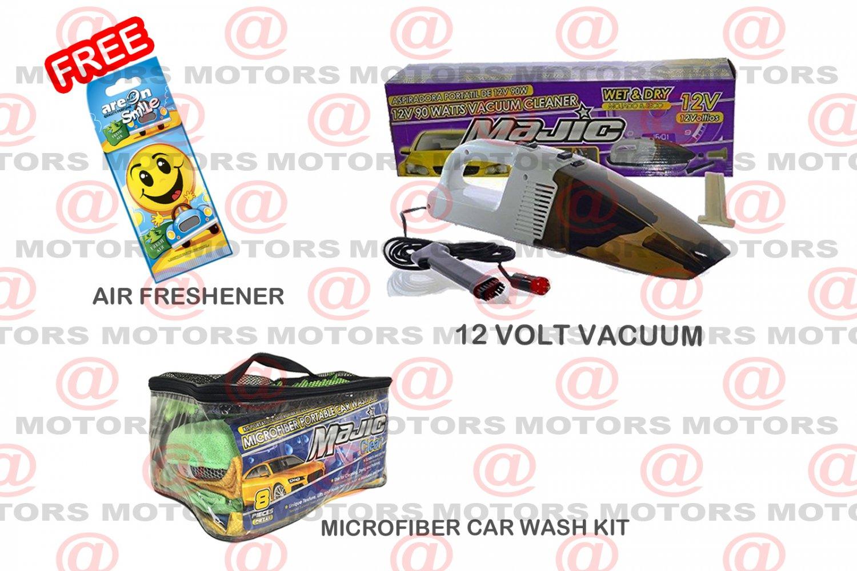 12 Volt Vacuum 90 Watt Wet Dry Microfiber Portable Car Wash Kit 8 Pcs Car Care