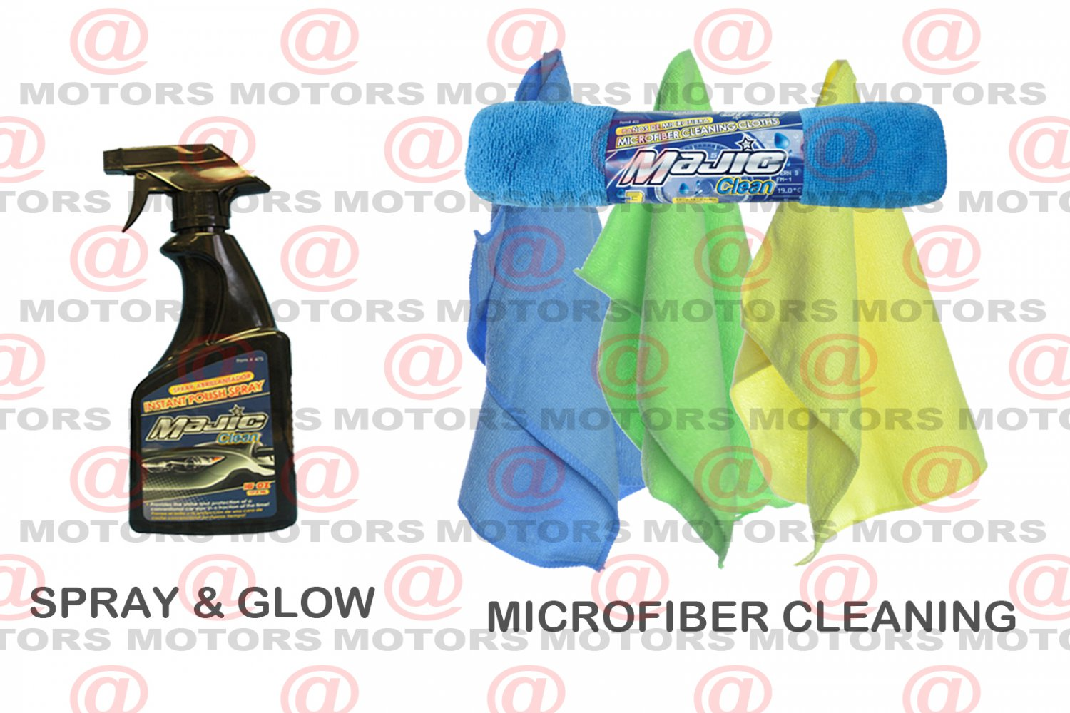 """Spray & Glow Absorbent Microfiber Cleaning Cloths Size 12""""X16"""" Majic 3 Pk New"""