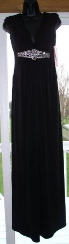 NWT MORGAN & CO Long Black Stretch Formal Dress w Rhinestones 4