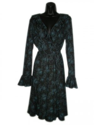 EXPRESS Black Green Ruffle Wrap Dress 11 12