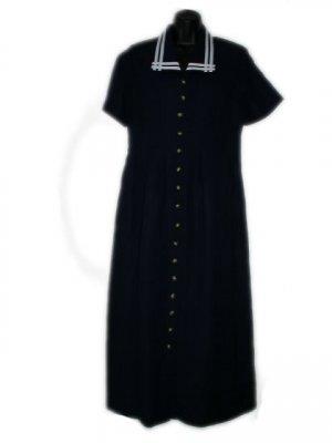 ORVIS Navy Blue White Sailor Style Long Dress P M