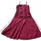 UN DEUX TROIS Burgundy Cinch Ribbon Dress 14 16 XL