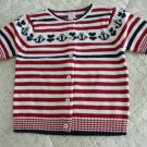 NEW GYMBOREE Bon Voyage Red White  Sweater Cardigan 8