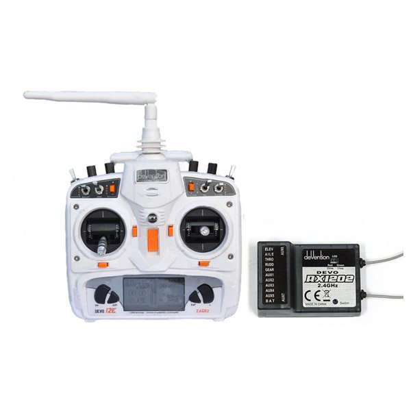 *Walkera DEVO 12E 2.4GHz 12 Channels Transmitter White With RX1202
