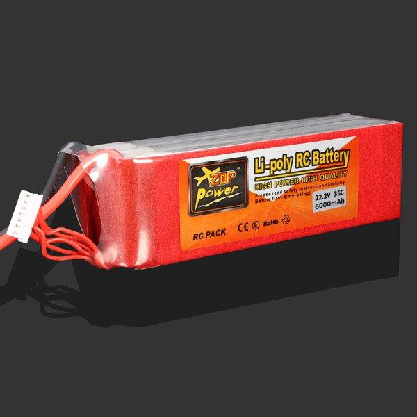 ZOP Power 6S 22.2V 6000MAH 35C Lipo Battery XT60 Plug