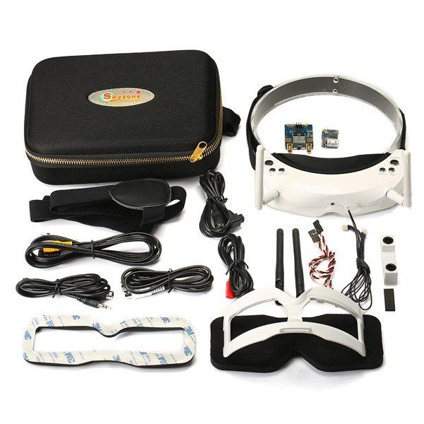 Skyzone SKY02S V+ 3D 5.8G 40CH FPV Goggles With Transmitter Camera Head Tracking HDMI DVR