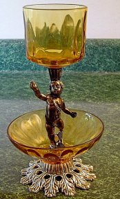 Italian Brass &  Glass & Gilded Cupid