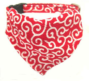 Dog KARAKUSA Bandana Collar RED SS size