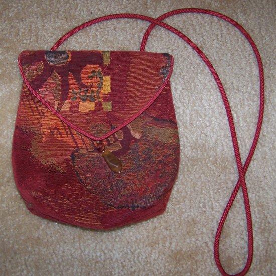 Red Orange Tapestry Purse