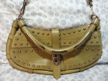 Authentic BURBERRY PRORSUM Cadet Studded Leather bag in pistachio green