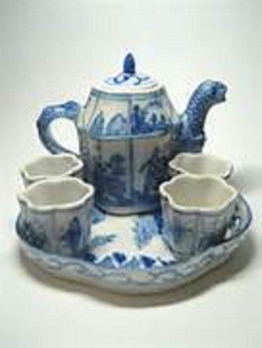Vintage Retired Delft Danish Porcelain Table Lamp Works