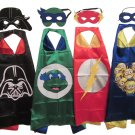 Boys Character Dress Up Costumes - 4 Satin Capes and 4 Felt Masks