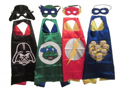 Boys Character Dress Up Costumes - 4 Satin Capes and 4 Felt Masks