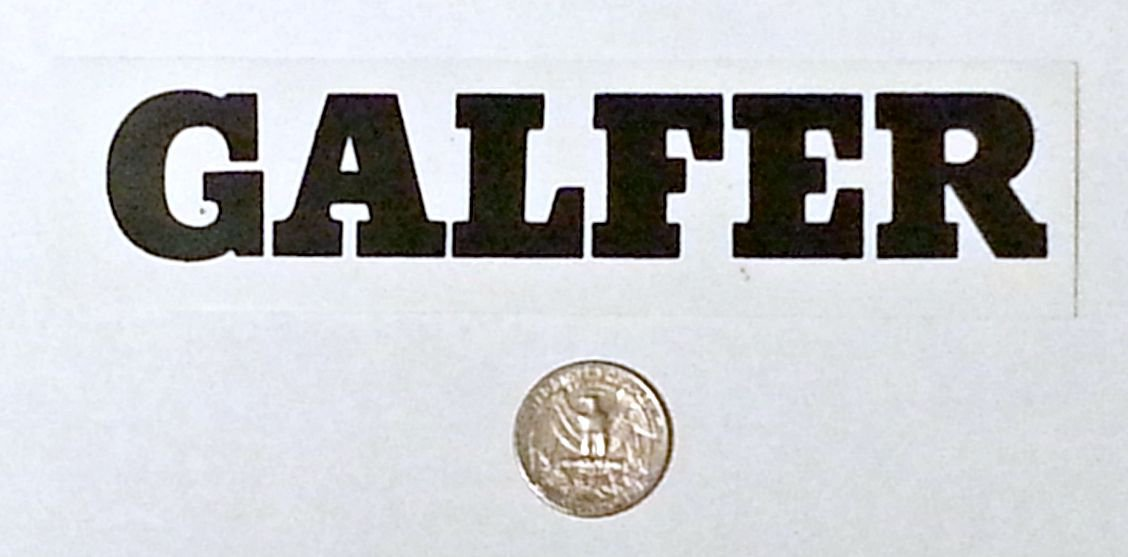 "Galfer sticker, black on white - 6 1/8"" x 1 1/2"""