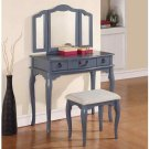 Poundex F4091 Blue Grey Vanity Set with Stool