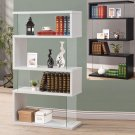 Modern White Black Long Floating Shelf Bookcase Asymmetrical Snaking Bookshelf