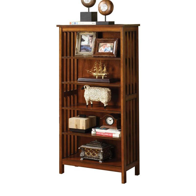 MISSION Style Valencia Antique Oak Lattice Molding Wood Media Shelf Bookcase