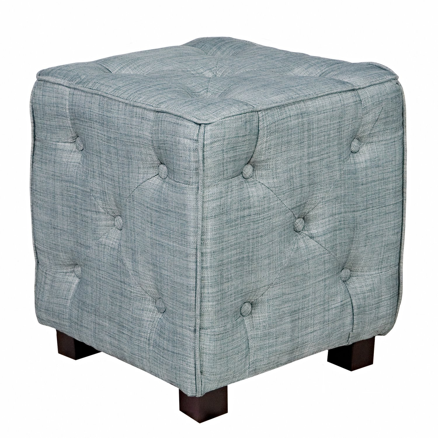 Misty Blue Small Tufted Cube Ottoman Family Room Seating