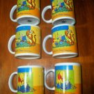 Set of Six Winnie the Pooh Ceramic Coffee Mugs