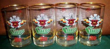Set of 4 Vintage Cluss Alt Beer Stange/Stick/Stuck Glasses