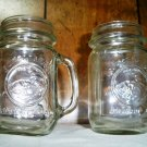 Two Vintage Golden Harvest Drinking Mason Jar Mugs