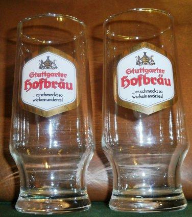 2 Vintage Guttgarter Hofbräu German Glasses