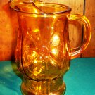 Vintage Amber Glass Pitcher with Springtime Daisy Floral Motif