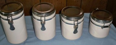 White Alco Canisters with Crome Lids