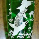 Vintage Emerald Green Glass Vase - Wild Geese