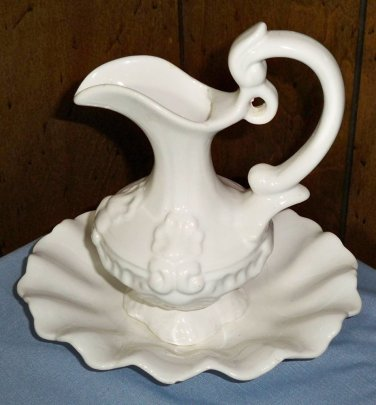White Ceramic Water Basin Vase (Made in Portugal)