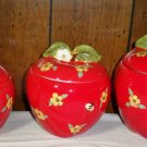 Set of 3 Susan Winget Apple / Flower Ceramic  Canister Set