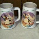 Set of Four Vintage Ceramic Avon Country Den Tankard Mallard Duck Stein