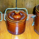 Set of Three Antique Brown Stoneware Cheese Crocks