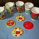 CLEARANCE!! Five Ceramic Christmas Mugs with Lid Covers
