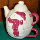 CLEARANCE-  Holiday Ceramic Tea For One / Coco Pot Set