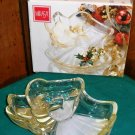 "CLEARANCE-  Mikasa ""Heavenly Song Gold"" Glass Candy Bowl / Relish Tray"