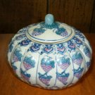 White Ceramic Pumpkin Canister With Grape Design