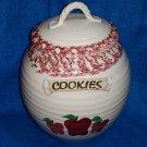 Vintage Heavy Ceramic Apple Cookie /Biscotti Jar