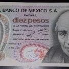 Vintage 1971 10 Diez Peso Note - El Banco De Mexico